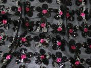 Reno Floral Sequinned Tulle Lace Dress Fabric  Black & Pink