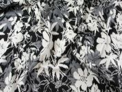 Spanish Floral Stretch Jacquard Dress Fabric  Black & Cream