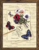 RIOLIS Embellished Counted Cross Stitch Kit Butterflies & Anemones