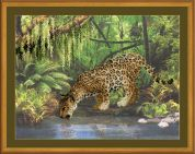 RIOLIS Embellished Counted Cross Stitch Kit Leopard Near the Water