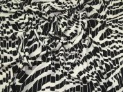 Abstract Print Stretch Crepe Dress Fabric  Black & Cream