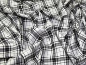 Lady McElroy Tartan Check Suiting Fabric  Black & White
