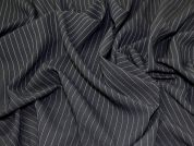 Lady McElroy Pinstripe Stretch Suiting Fabric  Black & White