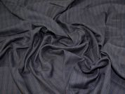 Lady McElroy Herringbone Pinstripe Suiting Fabric  Navy Blue