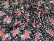 Lady McElroy Floral Spot Chiffon Fabric  Black Multi