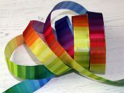 Stephanoise Wired Edge Rainbow Blocks Taffeta Ribbon