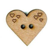 Crendon Engraved Heart Wooden Buttons