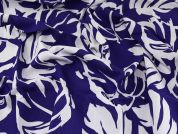 John Kaldor Large Leaf Print Linen & Viscose Blend Dress Fabric  Purple Blue