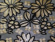Santa Clara Floral Sequinned Tulle Lace Dress Fabric  Black & Gold