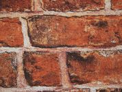 Brick Wall Texture Print Cotton & Polyester Canvas Fabric  Brown