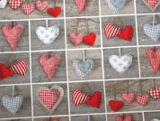 Small Hearts Print Cotton & Polyester Canvas Fabric  Red