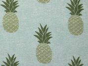 Pineapple Print Cotton & Polyester Canvas Fabric  Green