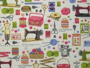 Sewing Print Cotton & Polyester Canvas Fabric  Multicoloured