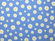 Floral Print Cotton & Polyester Canvas Fabric  Blue