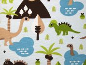Dinosaur Print Cotton & Polyester Canvas Fabric  Multicoloured