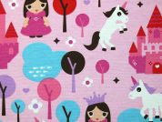 Fairytale Print Cotton & Polyester Canvas Fabric  Pink
