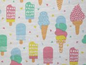 Ice Cream Print Cotton & Polyester Canvas Fabric  Multicoloured
