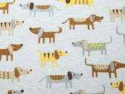 Dogs Print Cotton & Polyester Canvas Fabric  Multicoloured