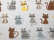 Cats Print Cotton & Polyester Canvas Fabric  Multicoloured