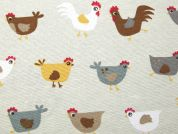 Chickens Print Cotton & Polyester Canvas Fabric  Multicoloured