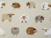 Sheep Print Cotton & Polyester Canvas Fabric  Beige