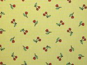 Cherry Print Cotton & Polyester Canvas Fabric  Yellow