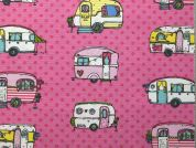 Camping Print Cotton & Polyester Canvas Fabric  Pink