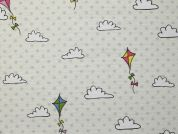Kits & Clouds Print Cotton & Polyester Canvas Fabric  Cream