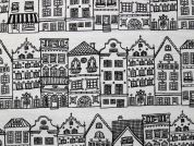 Houses Print Cotton & Polyester Canvas Fabric  Black & Ivory