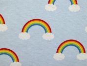 Rainbows Canvas Fabric  Pale Blue