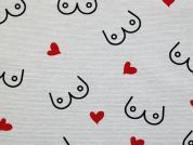 Boobies Canvas Fabric  Black, Red & Ivory