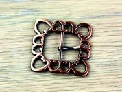 Simplicity Square Filigree Design Metal Buckle Fastener  Copper