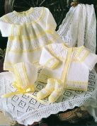 Stylecraft Baby Dress, Cardigan, Bonnet, Booties & Shawl Wondersoft Knitting Pattern 4163  4 Ply