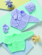 Stylecraft Baby Cardigans, Hat & Mittens Wondersoft Knitting Pattern 8117  DK