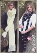 Stylecraft Ladies Scarves Knitting Pattern 8266  DK, Chunky