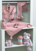 Stylecraft Baby Jacket, Blanket, Scarf, Hat, Mittens & Bootees Wondersoft Knitting Pattern 8295  DK