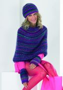 Stylecraft Ladies Shoulder Wrap, Wrist Warmers & Hat Harlequin Knitting Pattern 8681  Chunky
