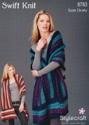 Stylecraft Ladies Striped Wrap Swift Knit Knitting Pattern 8783  Super Chunky