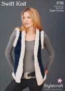 Stylecraft Ladies Russian Gilet Swift Knit Knitting Pattern 8786  Super Chunky
