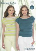 Stylecraft Ladies Tops Classique Cotton Knitting Pattern 8907  DK