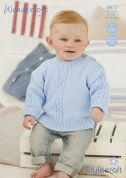 Stylecraft Baby Sweater & Cardigan Special Knitting Pattern 8977  4 Ply