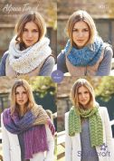 Stylecraft Ladies Shawl, Scarf & Snoods Alpaca Tweed Knitting Pattern 9015  DK