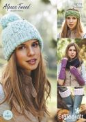 Stylecraft Ladies Accessories Alpaca Tweed Knitting Pattern 9016  DK