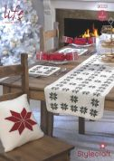 Stylecraft Home Christmas Cushions, Table Mats & Table Runner Life Knitting Pattern 9033  DK