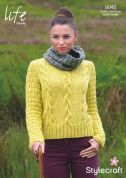 Stylecraft Ladies Sweater & Cowl Collar Life Knitting Pattern 9045  Chunky