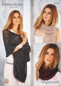 Stylecraft Ladies Shawl, Scarves & Snood Eskimo Kisses Knitting Pattern 9056  DK