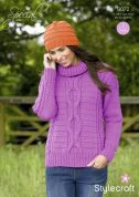 Stylecraft Ladies Sweater & Hat Special Knitting Pattern 9072  Aran
