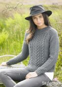 Stylecraft Ladies Sweater Special Knitting Pattern 9075  Aran