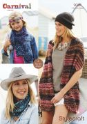 Stylecraft Childrens & Ladies Wraps, Scarf & Snood Carnival Knitting Pattern 9089  Chunky