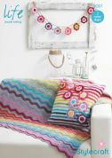 Stylecraft Home Blanket, Cushion Cover & Bunting Life Crochet Pattern 9091  DK
